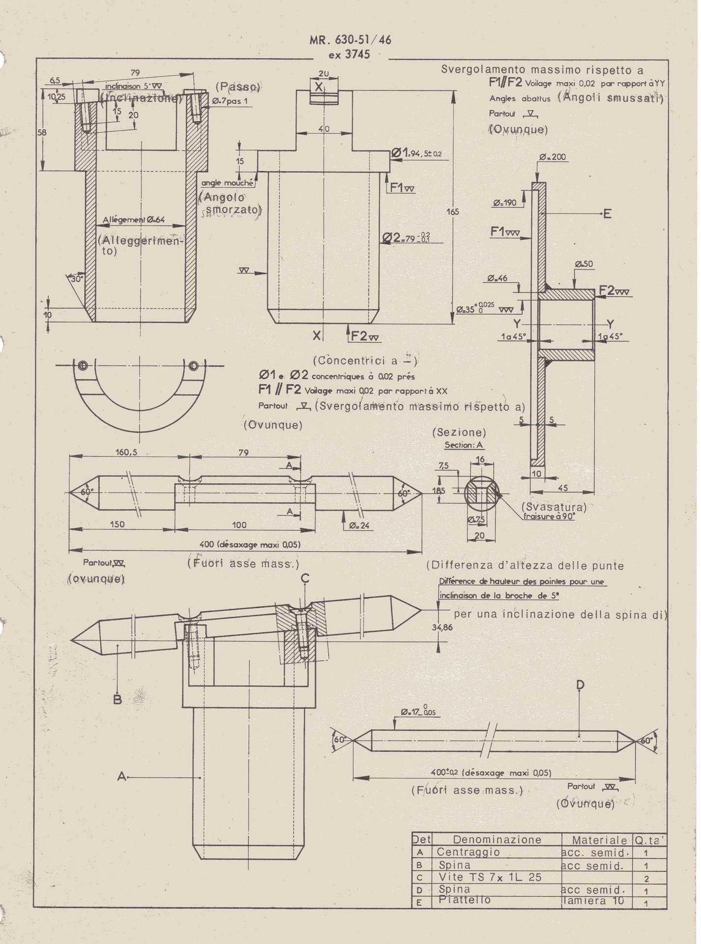 disegni tecnici per autocostruzione attrezzatura varia