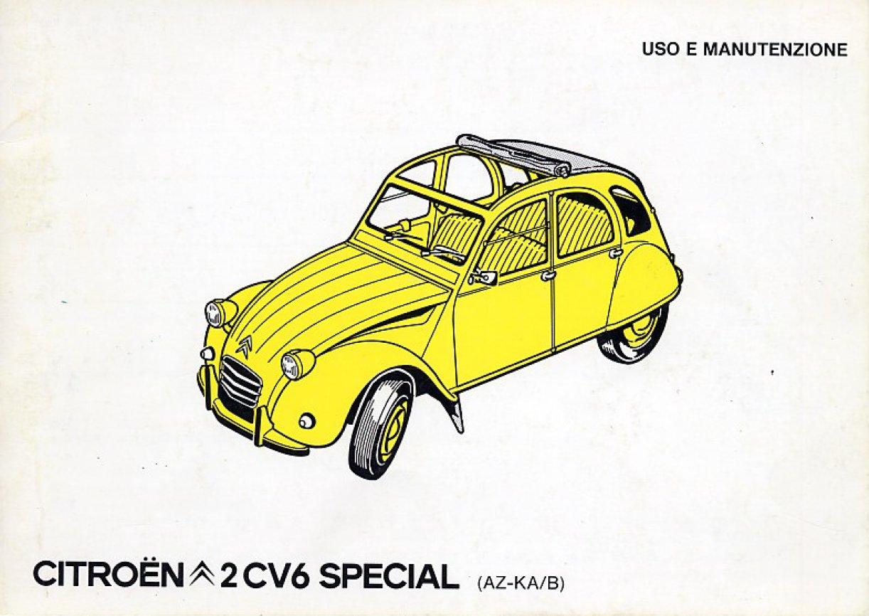 libretto uso e manutenzione citroen 2cv6 special